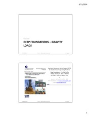 Session 3 - Deep Foundations Gravity Loads