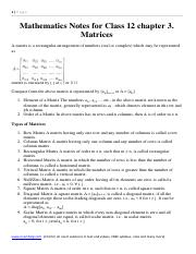 Mathematics Notes and Formula for Class 12 chapter 3. Matrices .pdf