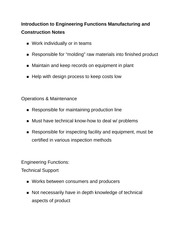 Functions Manufacturing and Construction Notes