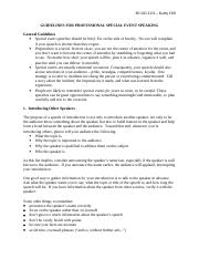 BUAD 2321 -  Special Event Speaking Guidelines--Hill.doc
