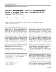 Qualitative and quantitative analysis of the unsaponifiable fraction of vegetable oils by using comp