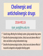 Cholinergic and Anticholiergic Drugs 2016A-2