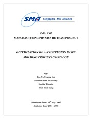OPTIMIZATION OF AN EXTRUSION BLOW MOLDING PROCESS USING DOE Project