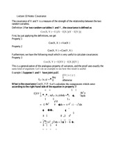 Lecture 10 Notes Covariance