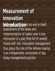 Measurement of Innovation