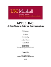 1. APPLE INC.  A Case Study in External Communication