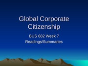 Global Corporate Citizenship Lecture