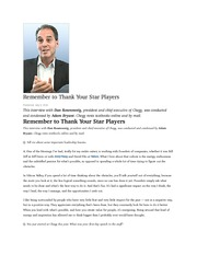 Remember to Thank Your Star Players
