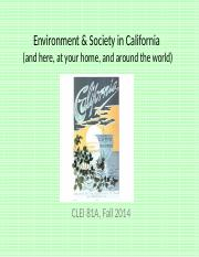 Environment and Society in CA - Reading