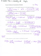 Solutions for dilutions worksheet