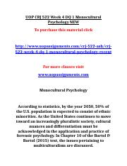 UOP CRJ 522 Week 4 DQ 1 Monocultural Psychology NEW.doc