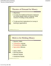 Theories of Money Demand and Portfolio Choice