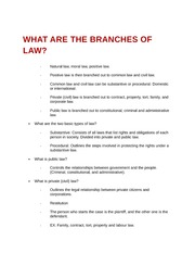 What are the branches of law