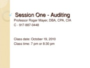Session One-Auditing Fall 2010