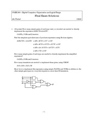 Final Exam Solution Spring 2003 on Introduction to Digital Logic and Computer Design
