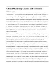 Global Warming Causes and Solutions.docx