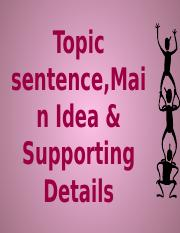 main idea and topic sentences