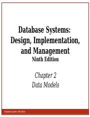 Ch02 Database Systems 9th Edition Database Systems Design Implementation And Management Ninth Edition Chapter 2 Data Models 2 Objectives Database Course Hero