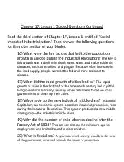 Bell Ringer - Social Impact of Industrialization - Chapter 17, Lesson 1 Guided Question Continued.do