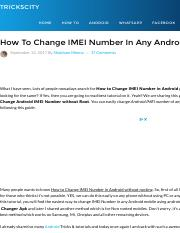New) How To Change IMEI Number In Any Android Without Root