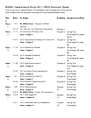 MIS202 Course Schedule - Winter 2011 PM Cluster