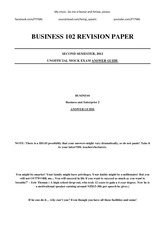 BUSINESS 102 REVISION PAPER ANSWERS