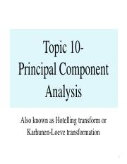 Topic 10- Principal Component Analysis