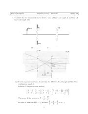 Physics 2.71 Exam 1 Solutions