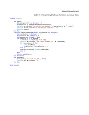 Lab 9.2 Programming Challenge Functions and Visual Basic