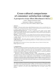 Cross-cultural comparisons of consumer satisfaction ratings Aperspective from Albert Hirschman's tho