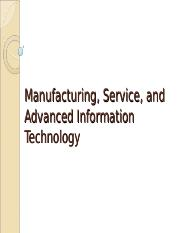 Lecture 7 Manufacturing Tech & Service