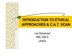 Introduction to Ethical Approaches & CAT Scan