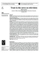 Trust in the news on television