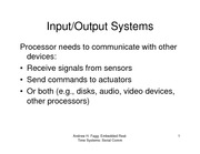 Lecture Notes on Input-Output Systems