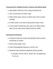 Characteristics of Baked Goods in Ontario and Alberta Notes