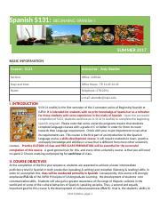 Spanish S131 syllabus SUMMER 2017 - Aventuras
