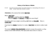 Lesson 1 (S1-2-01) History of Matter