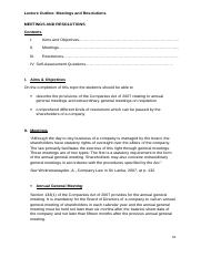 Sri Lankan Company Law_Lecture Outline_Meetings and Resolutions 14.doc
