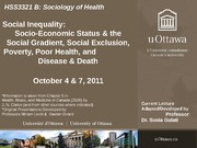 LECTURE 5 - Social Inequality, Social Exclusion, Socio-Economic Status