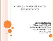CORPORATE GOVERNANCE PRESENTATION