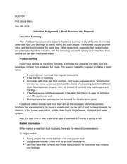 BUS1041, Individual Assignment, Small Business Idea Proposal