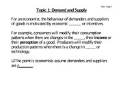 Topic 1- Demand and Supply