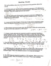 Resolving Circuits Worksheet And Answers