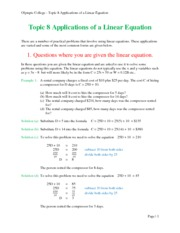Topic 8 Applications of Linear Equations