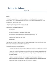Intro to Islam  April 17