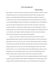 Essay on prompts one