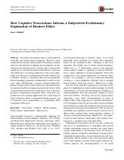 How Cognitive Neuroscience Informs a Subjectivist-Evolutionary explanation of business ethics.pdf