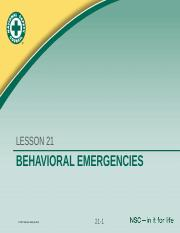 HP3100 Behavioral Emergencies CH21