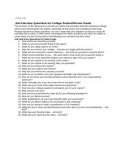 Job Interview Questions for College Seniors Recent Grads