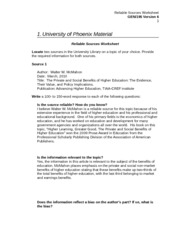 University of pheonix appendix j reliable sources worksheet
